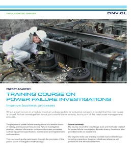 Training course Power Failure Investigations in T&D Systems